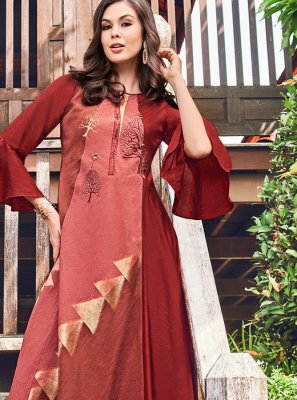 Print Fancy Fabric Party Wear Kurti in Maroon