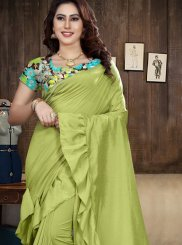 Print Fancy Fabric Saree in Green