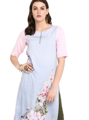 Print Faux Crepe Casual Kurti in Aqua Blue and Multi Colour