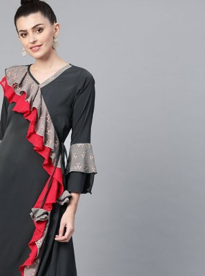 Print Faux Crepe Grey Party Wear Kurti
