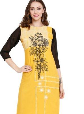 Print Faux Crepe Mustard Party Wear Kurti