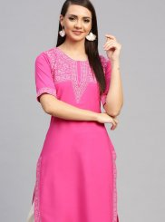 Print Faux Crepe Party Wear Kurti in Pink