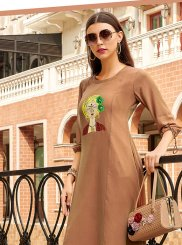 Print Faux Georgette Party Wear Kurti in Brown