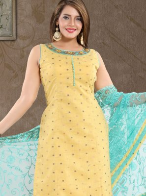 Print Yellow And Blue Art Silk Churidar Suit