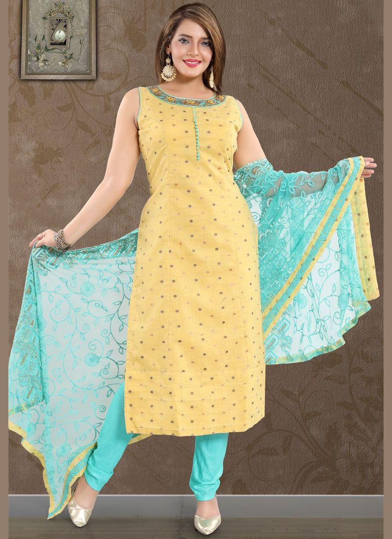 Print Gold Art Silk Churidar Suit