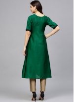 Print Green Poly Silk Readymade Designer Suit