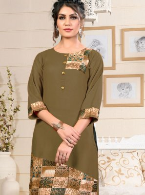 Print Green Rayon Party Wear Kurti