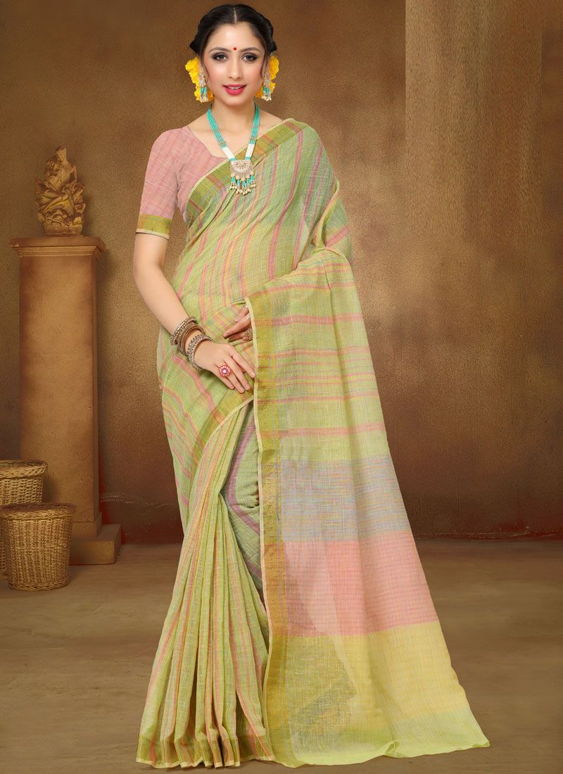Print Green Saree