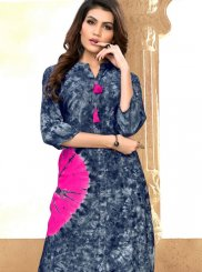 Print Grey and Pink Rayon Party Wear Kurti