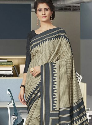 Print Grey Art Silk Traditional Saree
