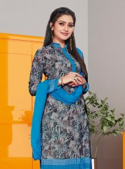 Print Grey Churidar Suit