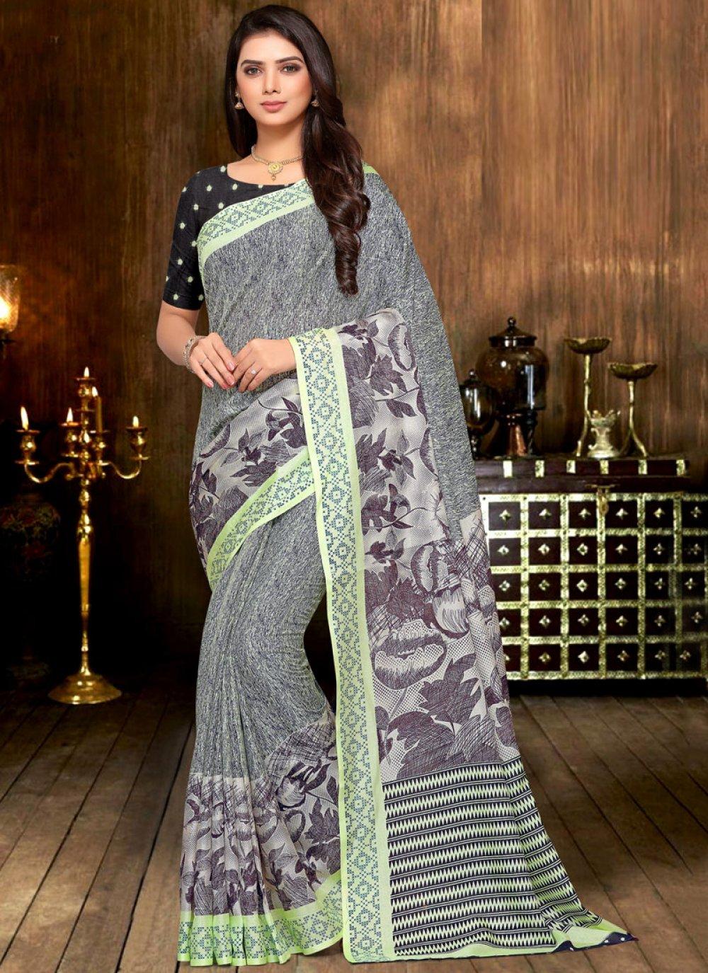 Print Grey Printed Saree