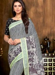 Print Grey Printed Saree