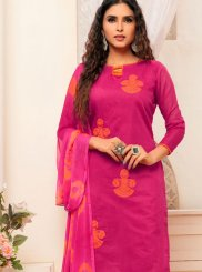 Print Hot Pink Cotton Churidar Suit