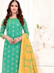 Print Jacquard Silk Sea Green Churidar Suit