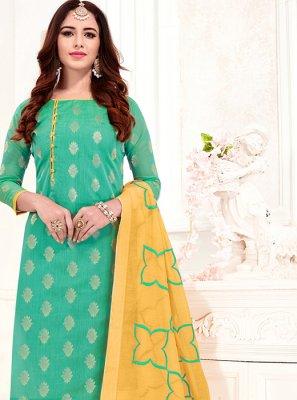 Print Jacquard Silk Sea Green Churidar Suit