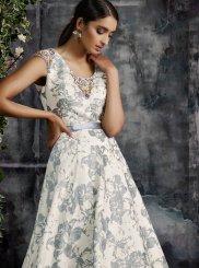 Print Jacquard Silk Trendy Gown