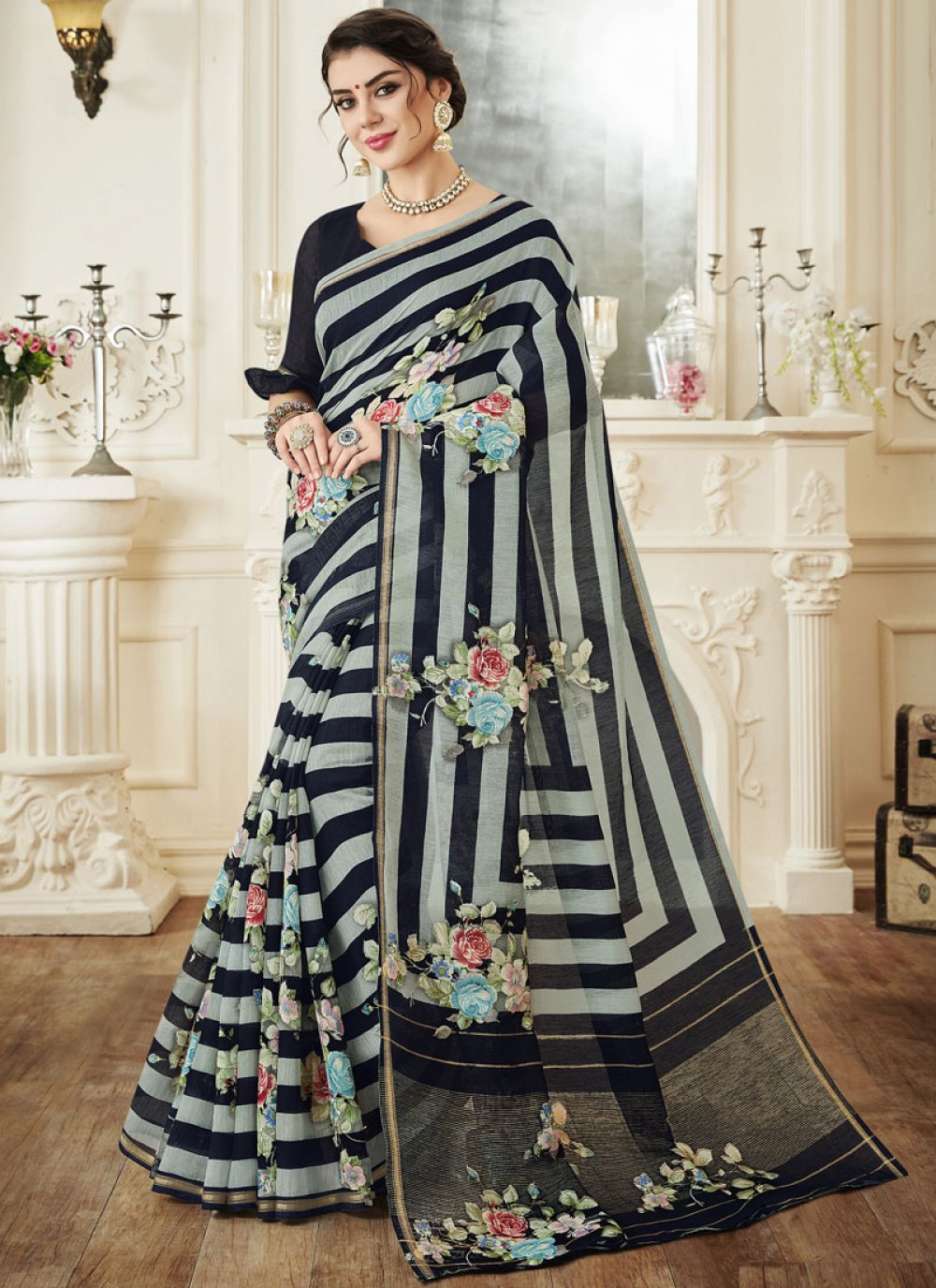 Print Linen Black Printed Saree