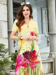 Print Linen Casual Kurti in Multi Colour