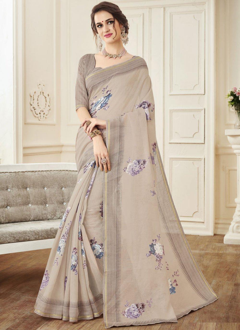 Print Linen Designer Saree
