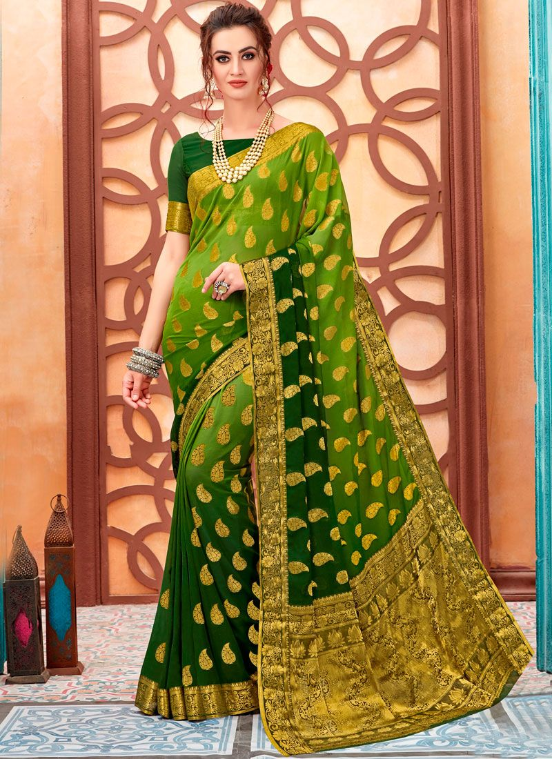 184d054d86b Buy Print Linen Green Shaded Saree Online -