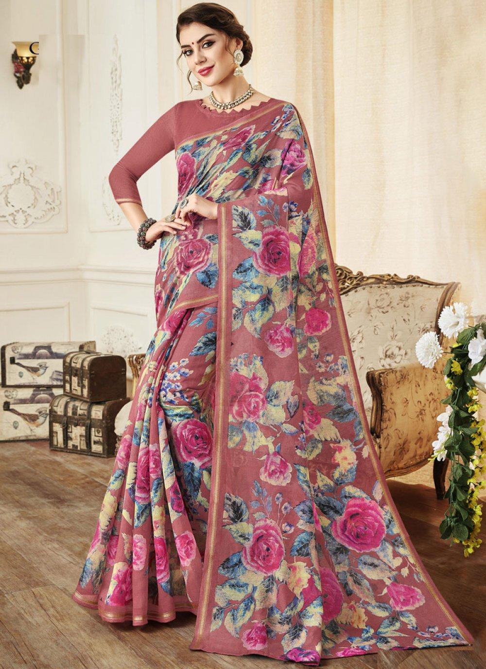 Print Linen Pink Classic Saree