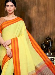 Print Linen Yellow Saree