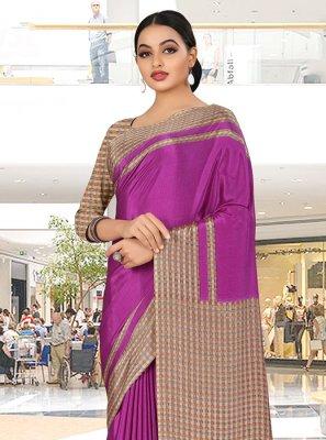 Print Magenta Crepe Silk Trendy Saree