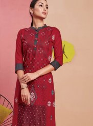 Print Maroon Party Wear Kurti