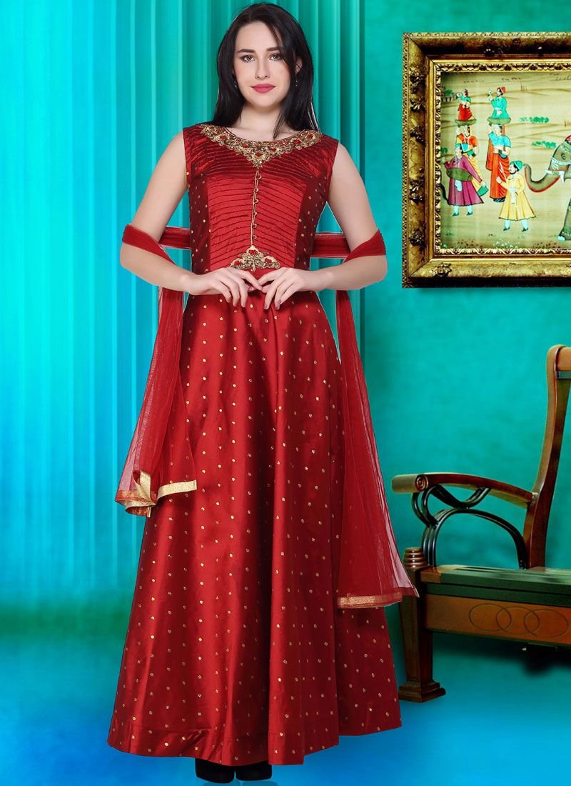 Print Maroon Readymade Designer Gown