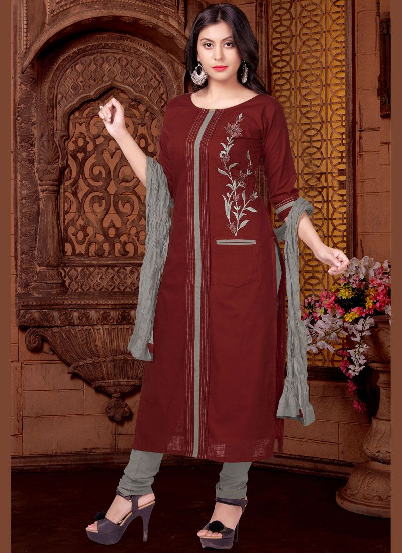 Print Maroon Readymade Suit