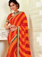 Print Multi Colour Faux Chiffon Classic Saree