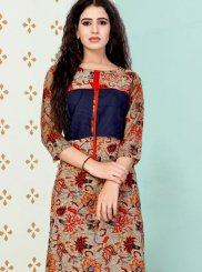 Print Multi Colour Party Wear Kurti