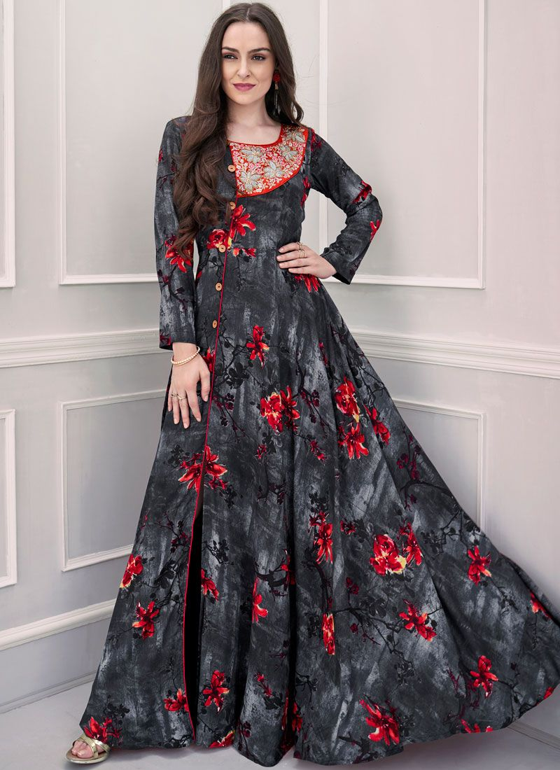 Print Multi Colour Rayon Readymade Gown