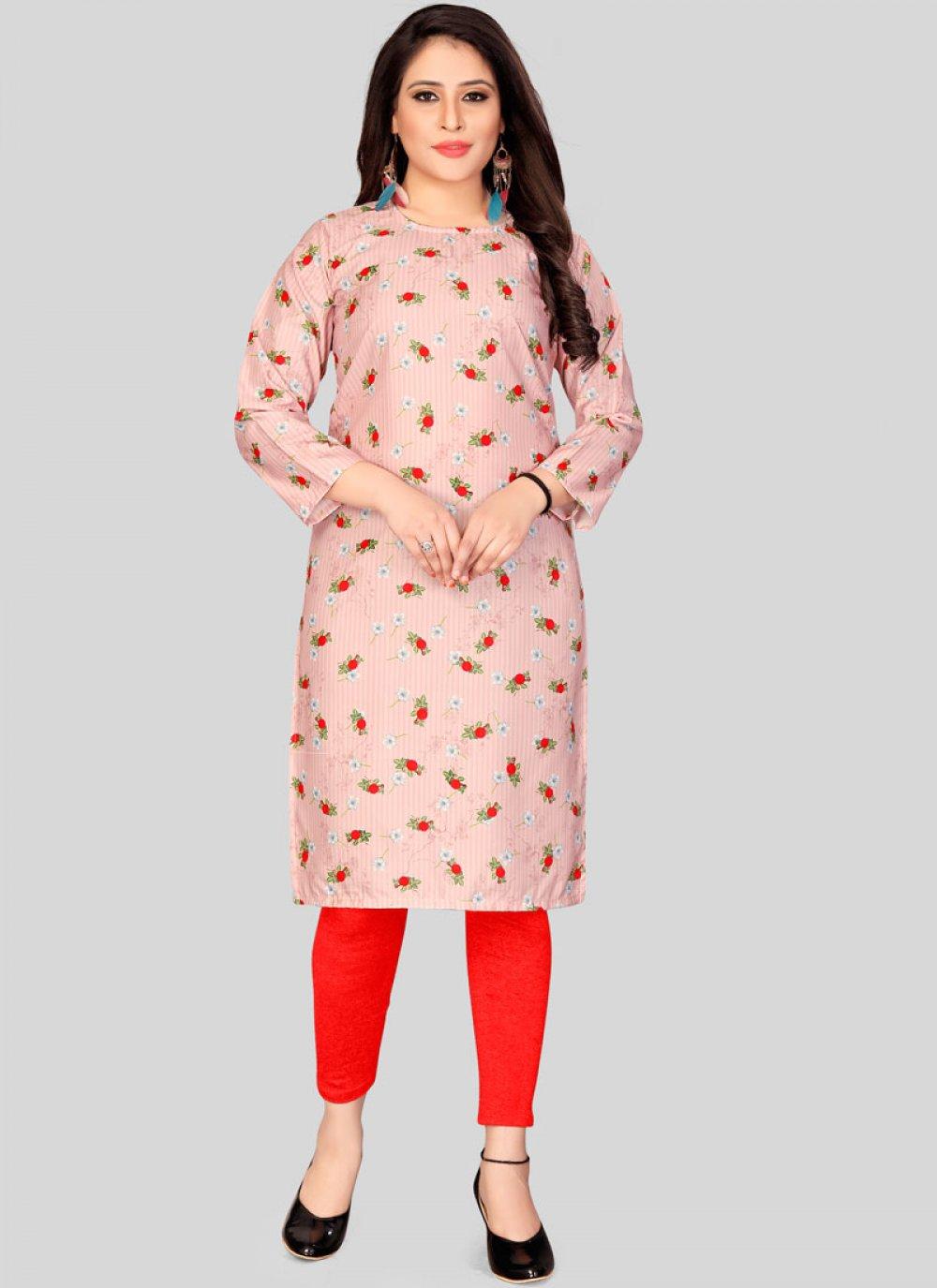 Print Muslin Casual Kurti in Pink