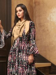 Print Muslin Multi Colour Party Wear Kurti