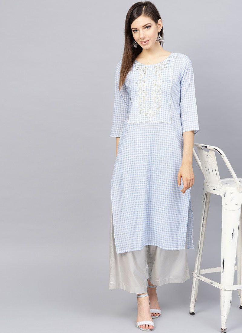 Print Muslin Readymade Designer Suit in Aqua Blue