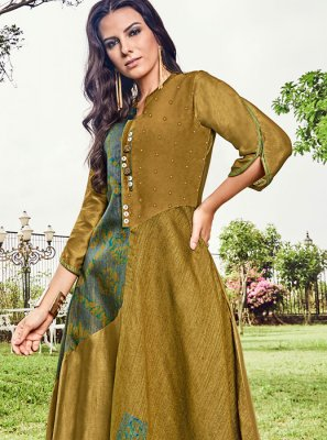 Print Mustard Fancy Fabric Party Wear Kurti