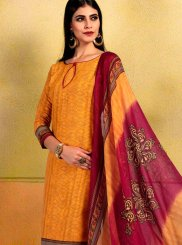 Print Orange Cotton Churidar Suit
