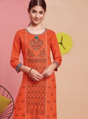 Print Orange Party Wear Kurti