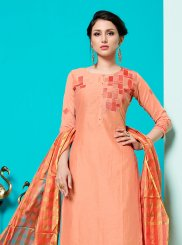 Print Peach Cotton Churidar Suit
