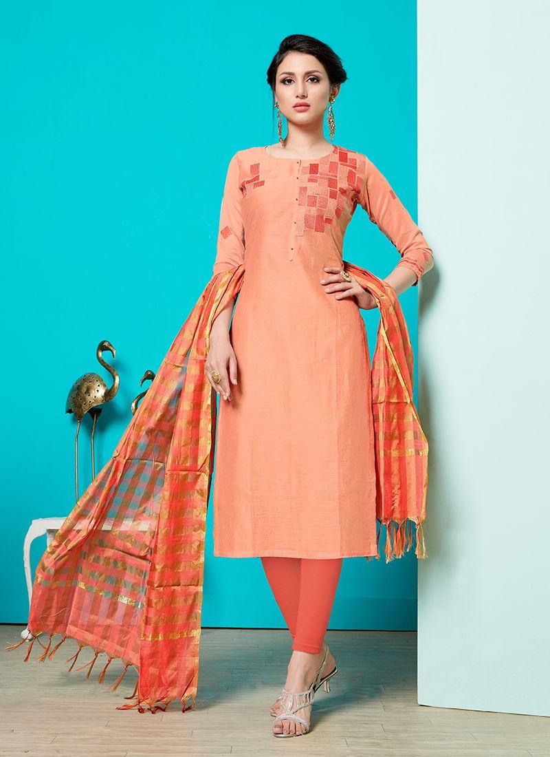 Print Peach Cotton Churidar Suit