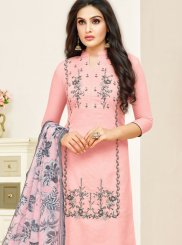 Print Pink Art Silk Churidar Designer Suit