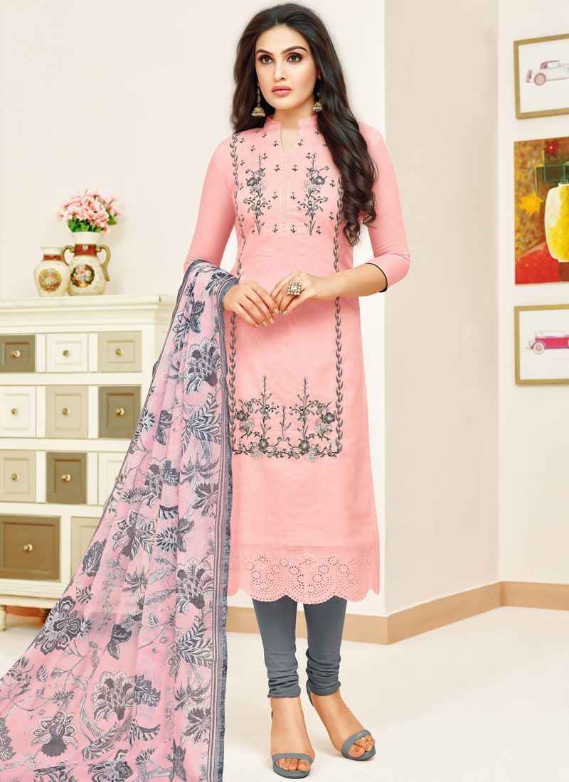 Print Pink Art Silk Churidar Designer Suit