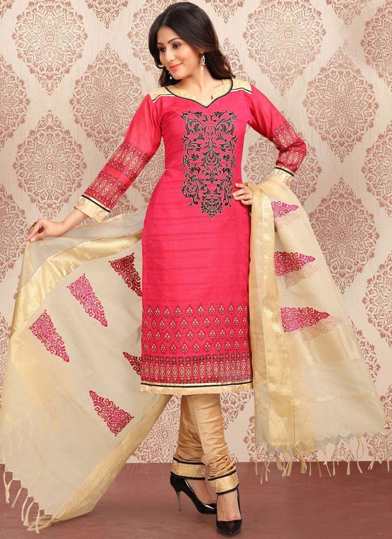 Print Pink Churidar Suit