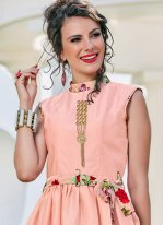 Print Pink Readymade Gown