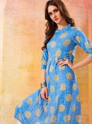 Print Rayon Blue Designer Kurti