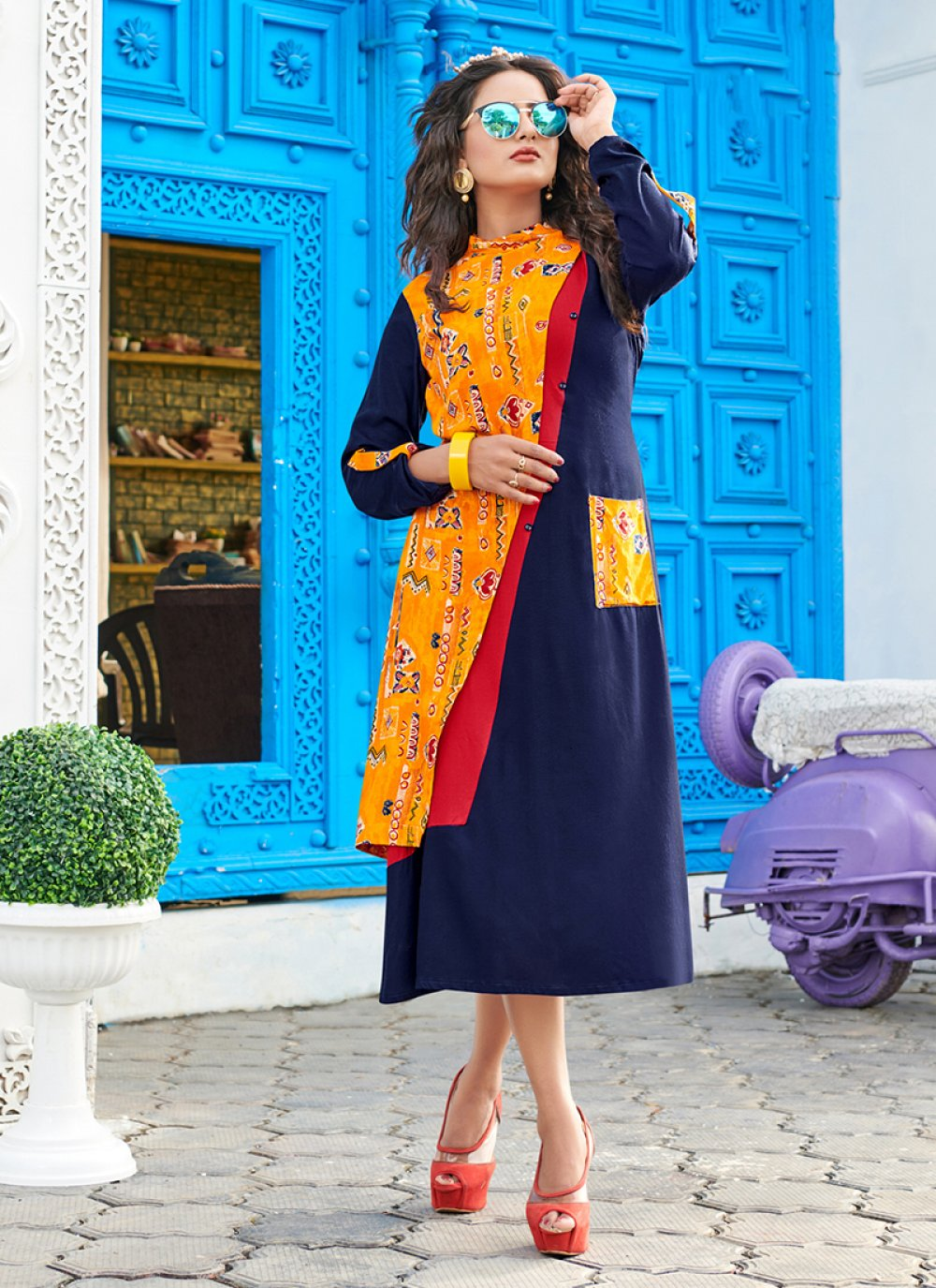 Print Rayon Blue Party Wear Kurti