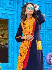 Print Rayon Blue Party Wear Kurti