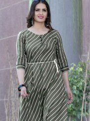 Print Rayon Green Party Wear Kurti
